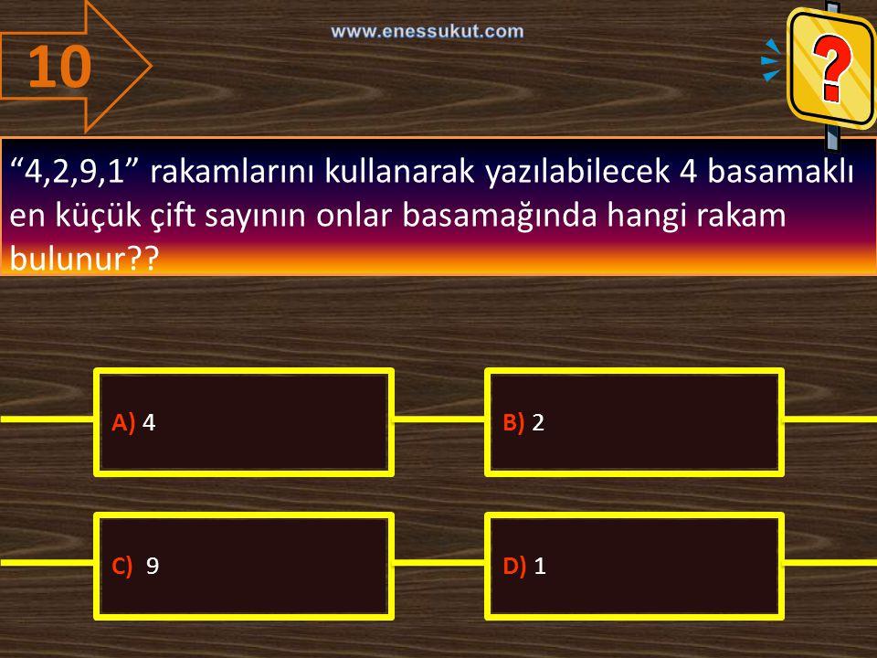 10 www.enessukut.com. 4,2,9,1 rakamlarını kullanarak yazılabilecek 4 basamaklı en küçük çift sayının onlar basamağında hangi rakam bulunur