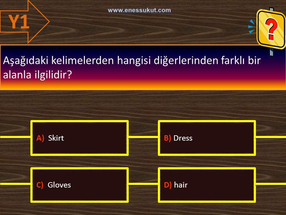 Y1 www.enessukut.com. Aşağıdaki kelimelerden hangisi diğerlerinden farklı bir alanla ilgilidir A) Skirt.