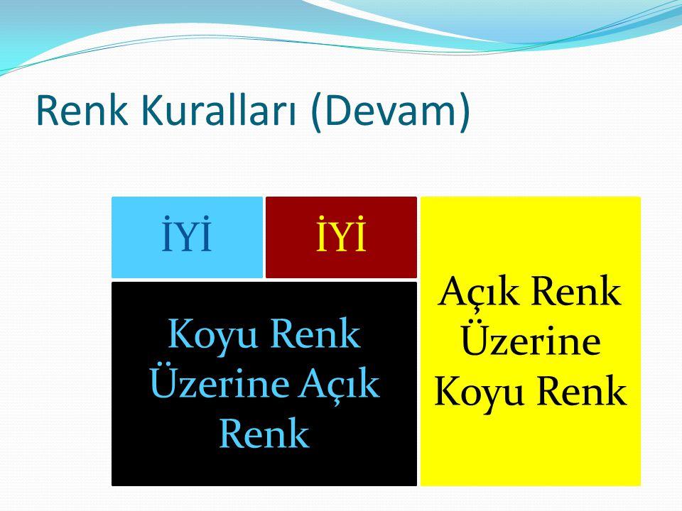 Renk Kuralları (Devam)