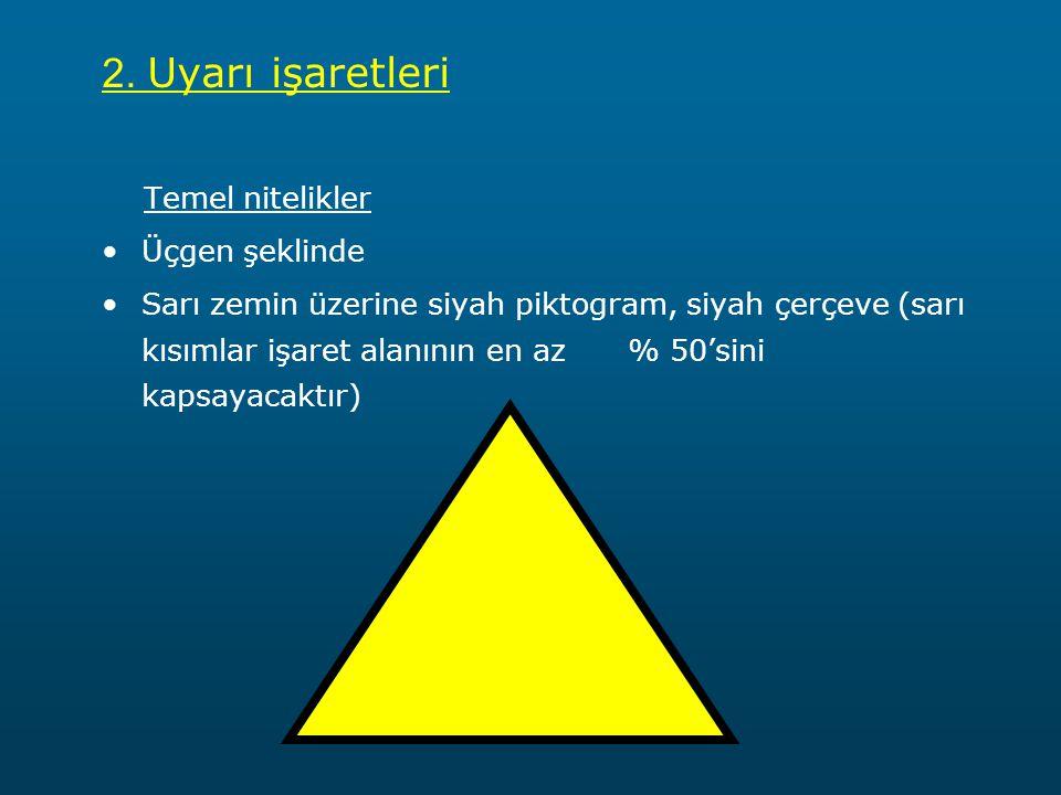 2. Uyarı işaretleri Temel nitelikler Üçgen şeklinde