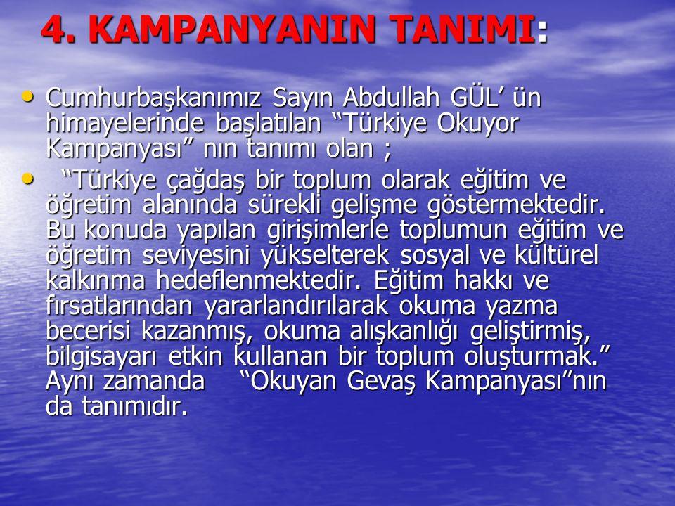 4. KAMPANYANIN TANIMI: Cumhurbaşkanımız Sayın Abdullah GÜL' ün himayelerinde başlatılan Türkiye Okuyor Kampanyası nın tanımı olan ;