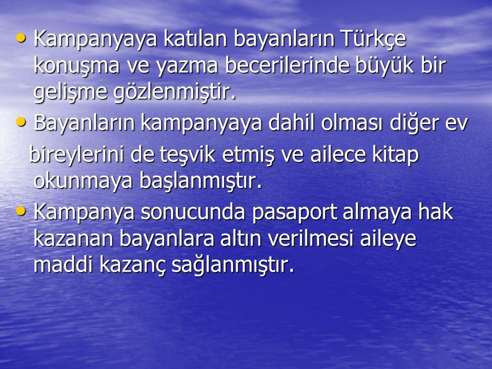 Kampanyaya katılan bayanların Türkçe konuşma ve yazma becerilerinde büyük bir gelişme gözlenmiştir.