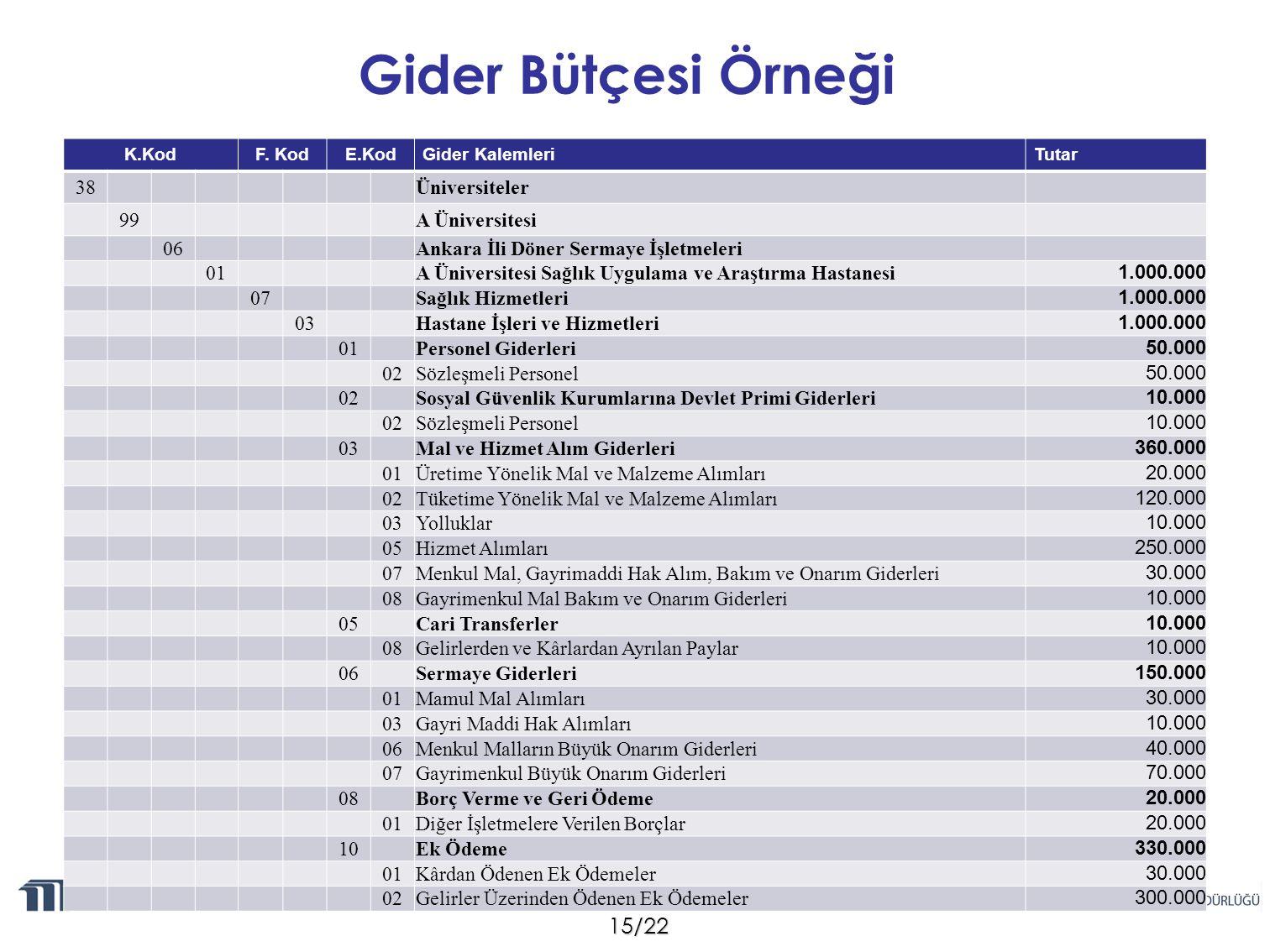 Gider Bütçesi Örneği 38 Üniversiteler 99 A Üniversitesi 06