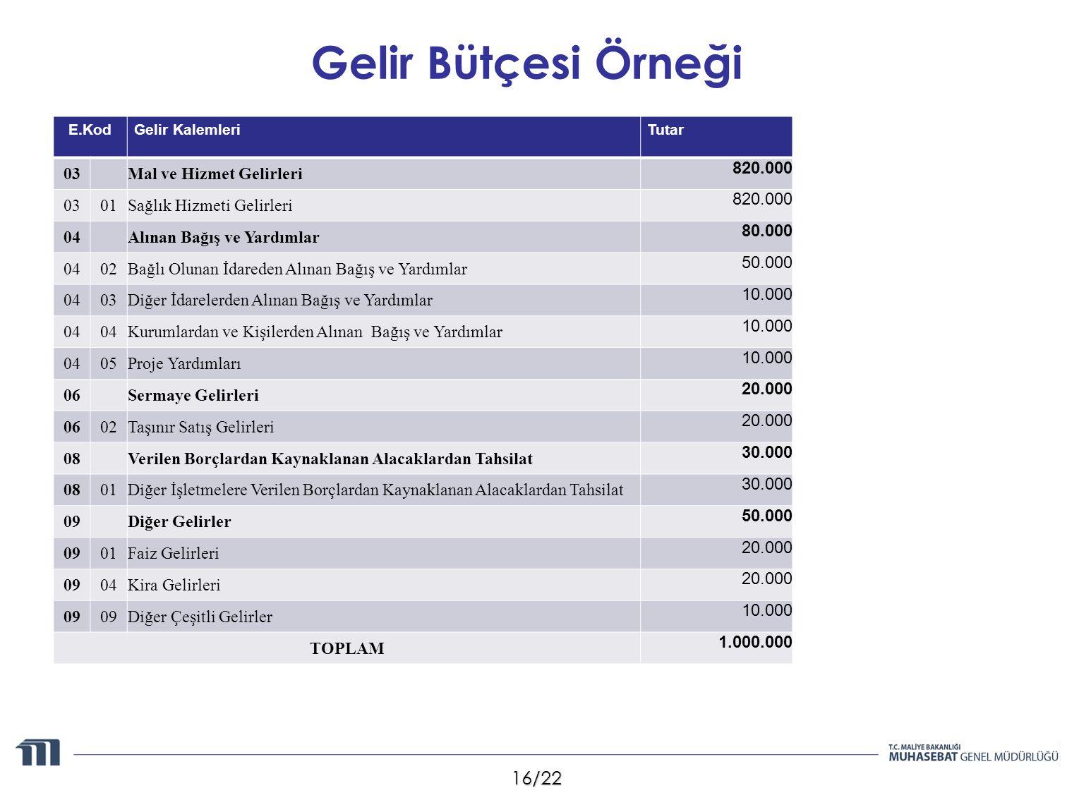 Gelir Bütçesi Örneği 03 Mal ve Hizmet Gelirleri 820.000 01