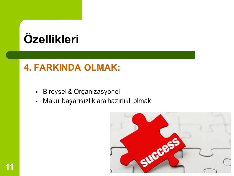 Özellikleri 4. FARKINDA OLMAK: Bireysel & Organizasyonel