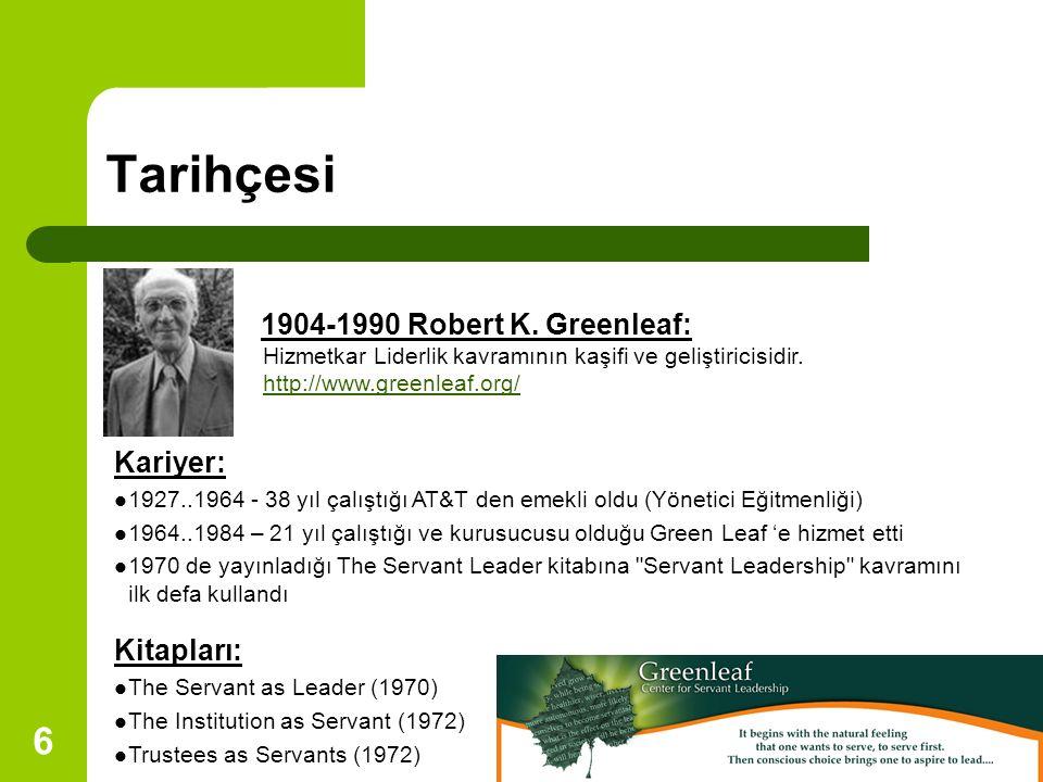 Tarihçesi 1904-1990 Robert K. Greenleaf: Kariyer: Kitapları: