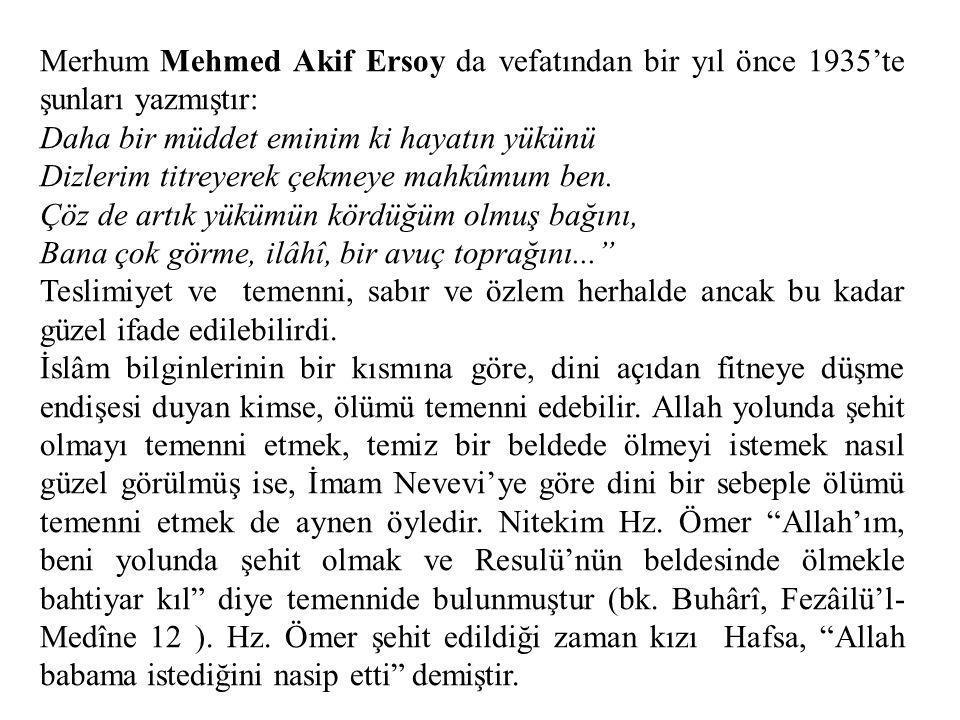 Merhum Mehmed Akif Ersoy da vefatından bir yıl önce 1935'te şunları yazmıştır: