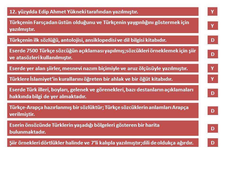 12. yüzyılda Edip Ahmet Yükneki tarafından yazılmıştır.