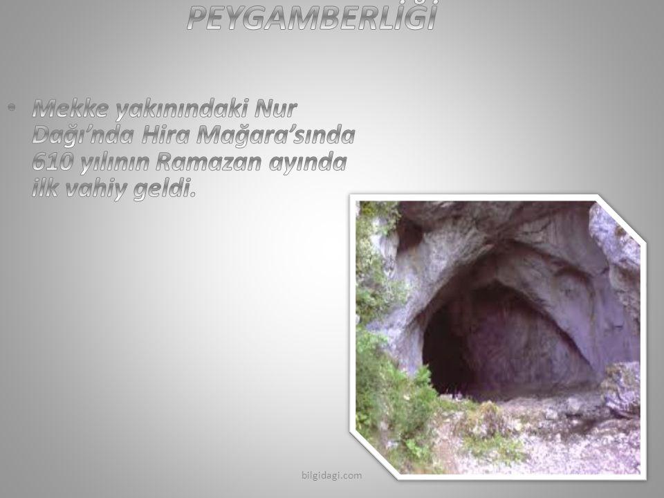 PEYGAMBERLİĞİ Mekke yakınındaki Nur Dağı'nda Hira Mağara'sında 610 yılının Ramazan ayında ilk vahiy geldi.