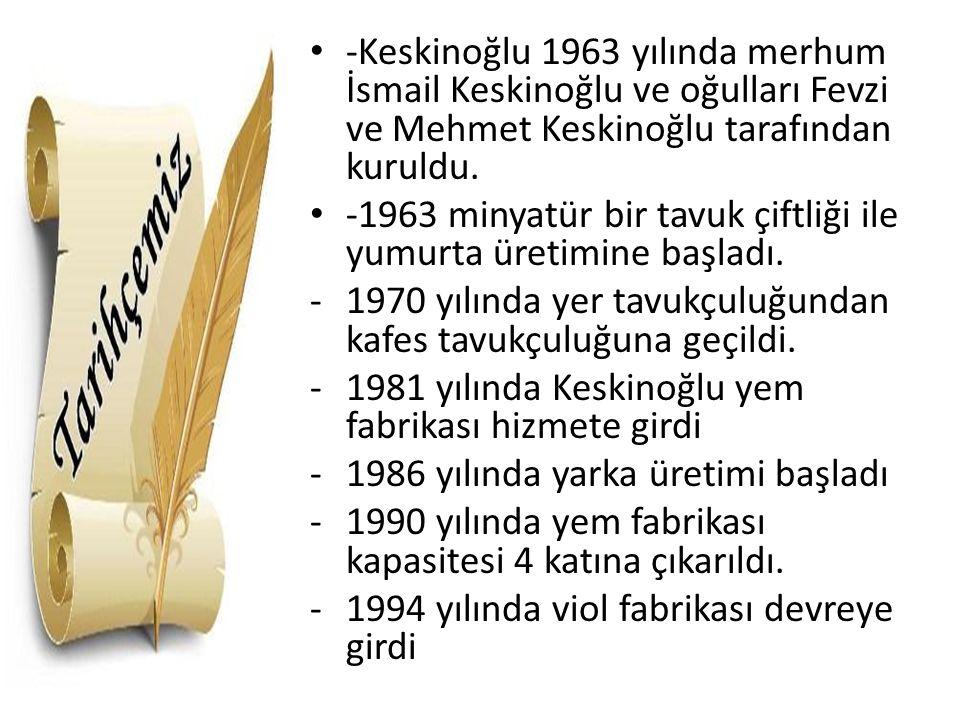 -Keskinoğlu 1963 yılında merhum İsmail Keskinoğlu ve oğulları Fevzi ve Mehmet Keskinoğlu tarafından kuruldu.