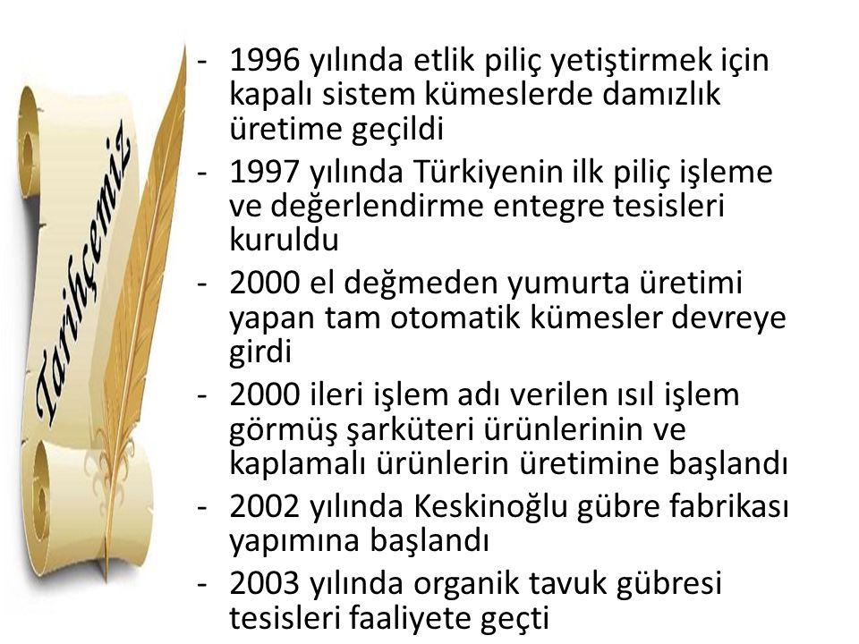 1996 yılında etlik piliç yetiştirmek için kapalı sistem kümeslerde damızlık üretime geçildi