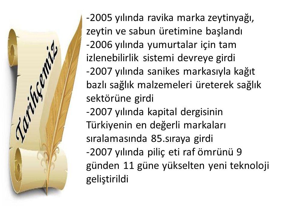 2005 yılında ravika marka zeytinyağı, zeytin ve sabun üretimine başlandı
