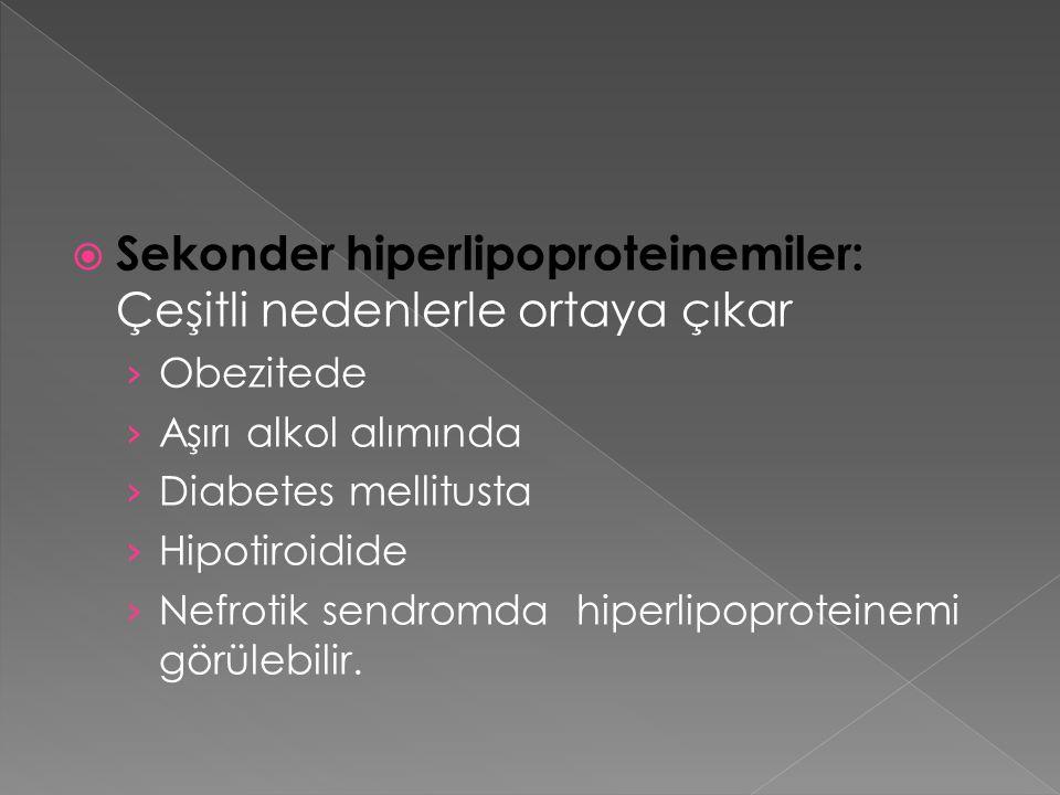 Sekonder hiperlipoproteinemiler: Çeşitli nedenlerle ortaya çıkar