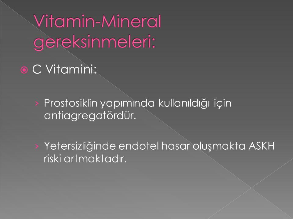 Vitamin-Mineral gereksinmeleri: