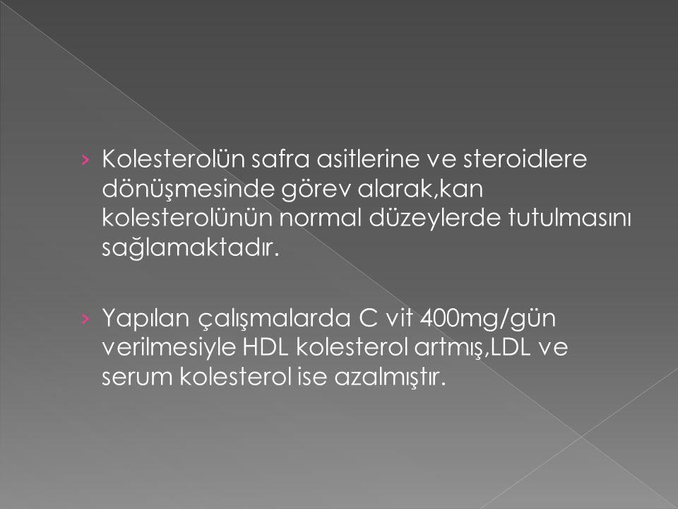 Kolesterolün safra asitlerine ve steroidlere dönüşmesinde görev alarak,kan kolesterolünün normal düzeylerde tutulmasını sağlamaktadır.