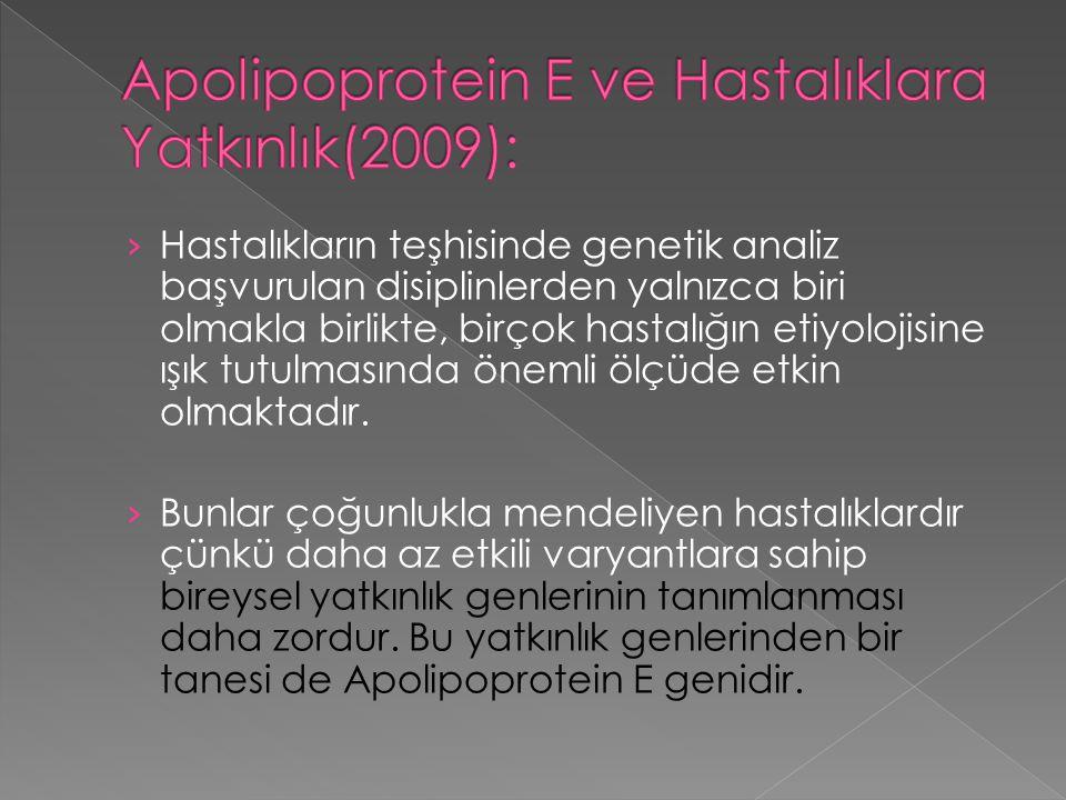 Apolipoprotein E ve Hastalıklara Yatkınlık(2009):