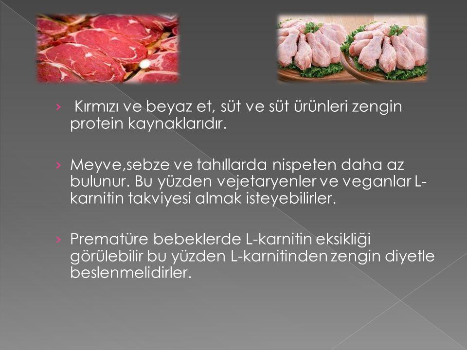 Kırmızı ve beyaz et, süt ve süt ürünleri zengin protein kaynaklarıdır.