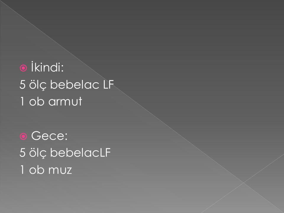 İkindi: 5 ölç bebelac LF 1 ob armut Gece: 5 ölç bebelacLF 1 ob muz