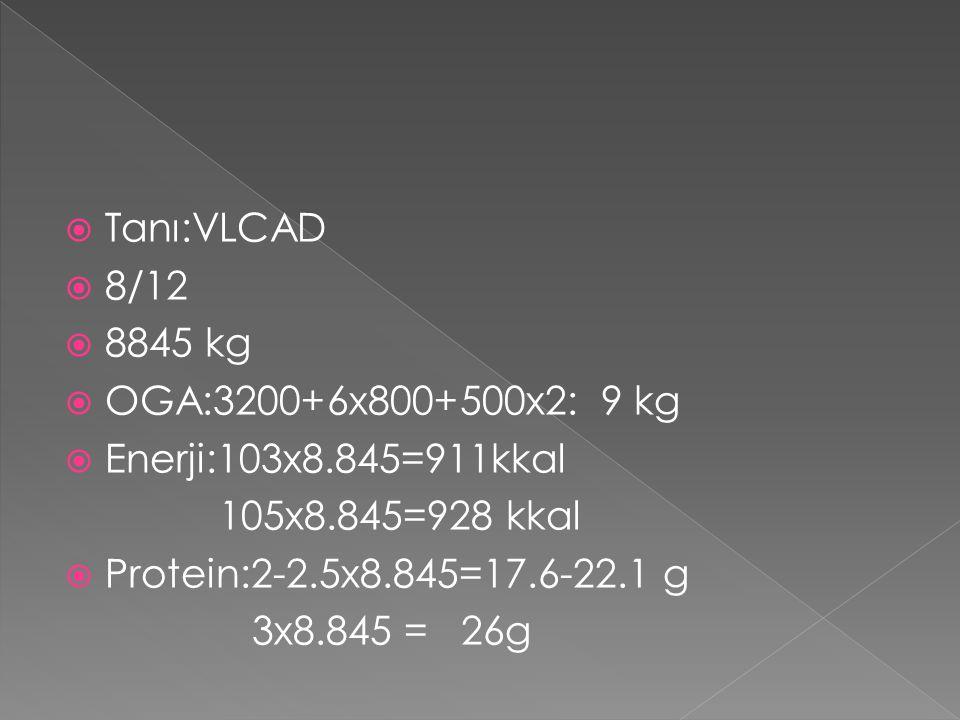 Tanı:VLCAD 8/12. 8845 kg. OGA:3200+6x800+500x2: 9 kg. Enerji:103x8.845=911kkal. 105x8.845=928 kkal.