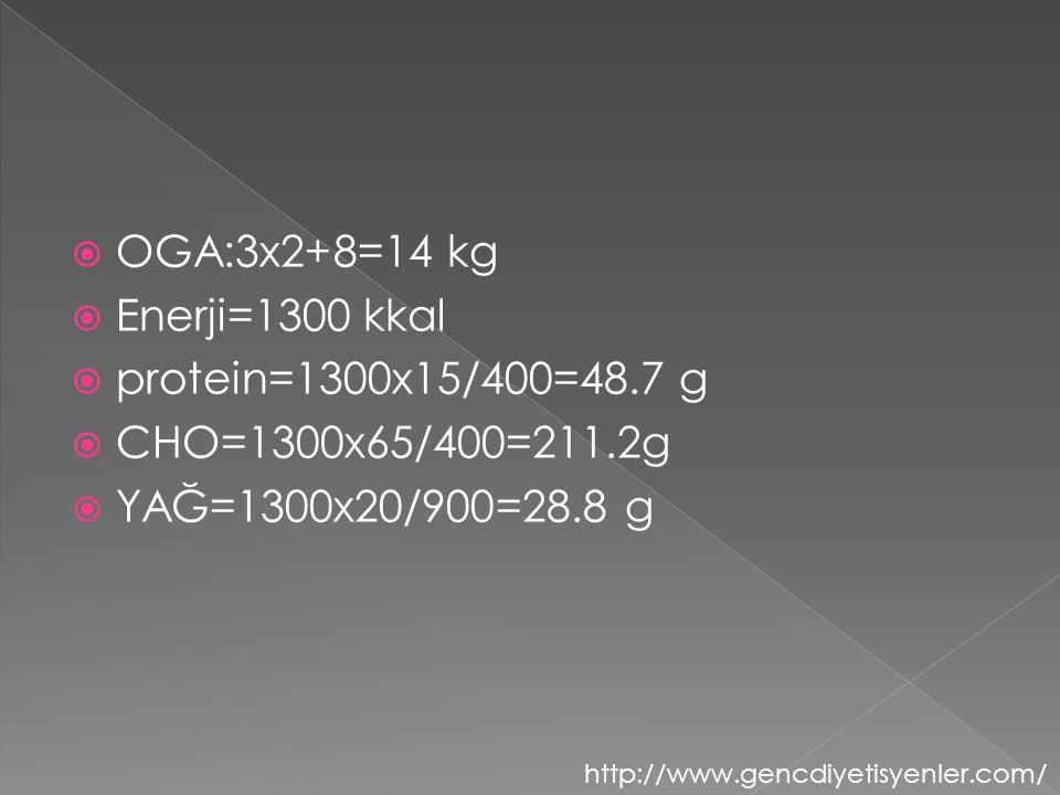 OGA:3x2+8=14 kg Enerji=1300 kkal protein=1300x15/400=48.7 g