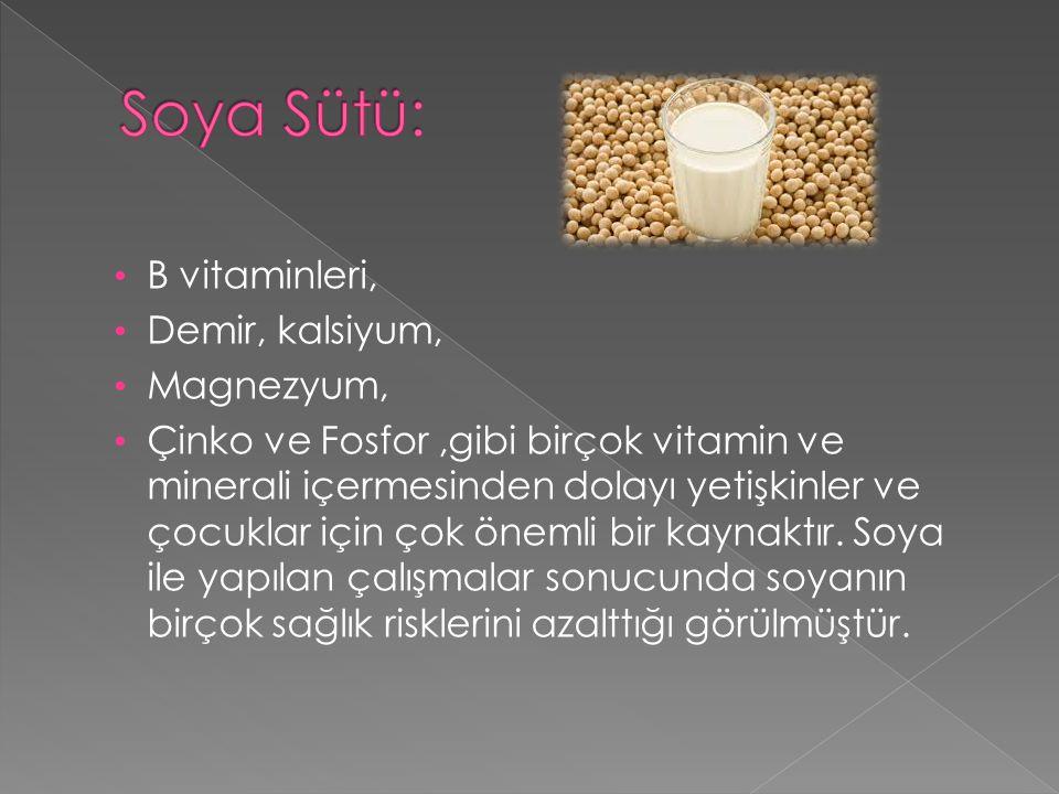Soya Sütü: B vitaminleri, Demir, kalsiyum, Magnezyum,