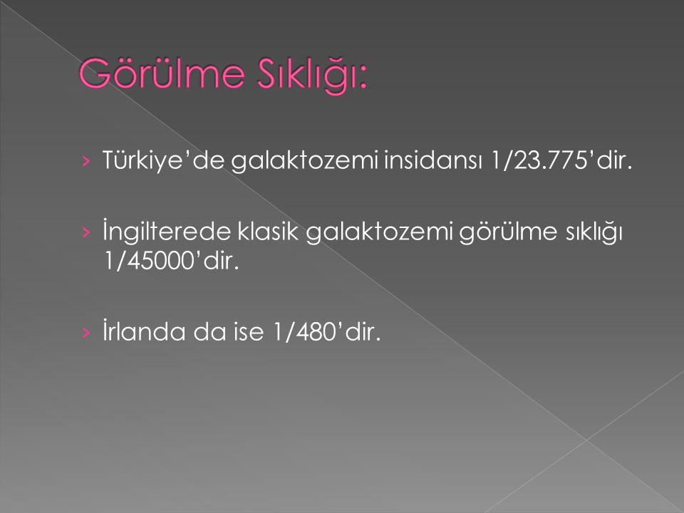 Görülme Sıklığı: Türkiye'de galaktozemi insidansı 1/23.775'dir.