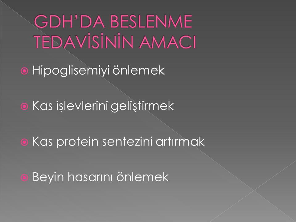 GDH'DA BESLENME TEDAVİSİNİN AMACI