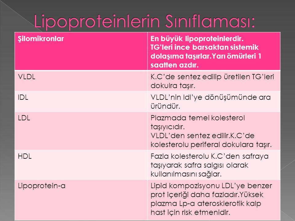 Lipoproteinlerin Sınıflaması: