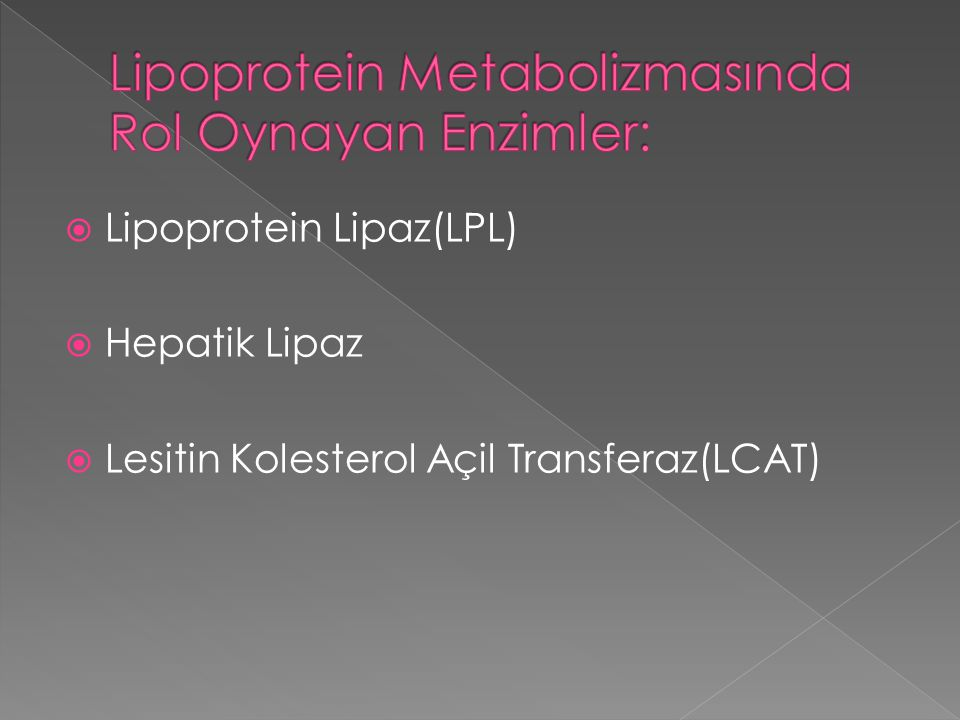 Lipoprotein Metabolizmasında Rol Oynayan Enzimler: