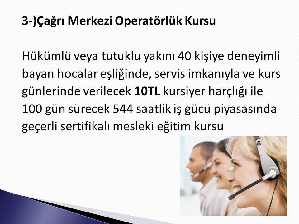 3-)Çağrı Merkezi Operatörlük Kursu Hükümlü veya tutuklu yakını 40 kişiye deneyimli bayan hocalar eşliğinde, servis imkanıyla ve kurs günlerinde verilecek 10TL kursiyer harçlığı ile 100 gün sürecek 544 saatlik iş gücü piyasasında geçerli sertifikalı mesleki eğitim kursu