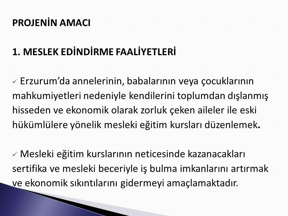 PROJENİN AMACI 1. MESLEK EDİNDİRME FAALİYETLERİ. Erzurum'da annelerinin, babalarının veya çocuklarının.