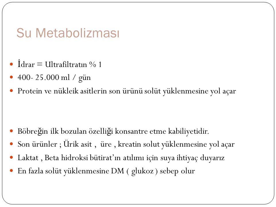 Su Metabolizması İdrar = Ultrafiltratın % 1 400- 25.000 ml / gün