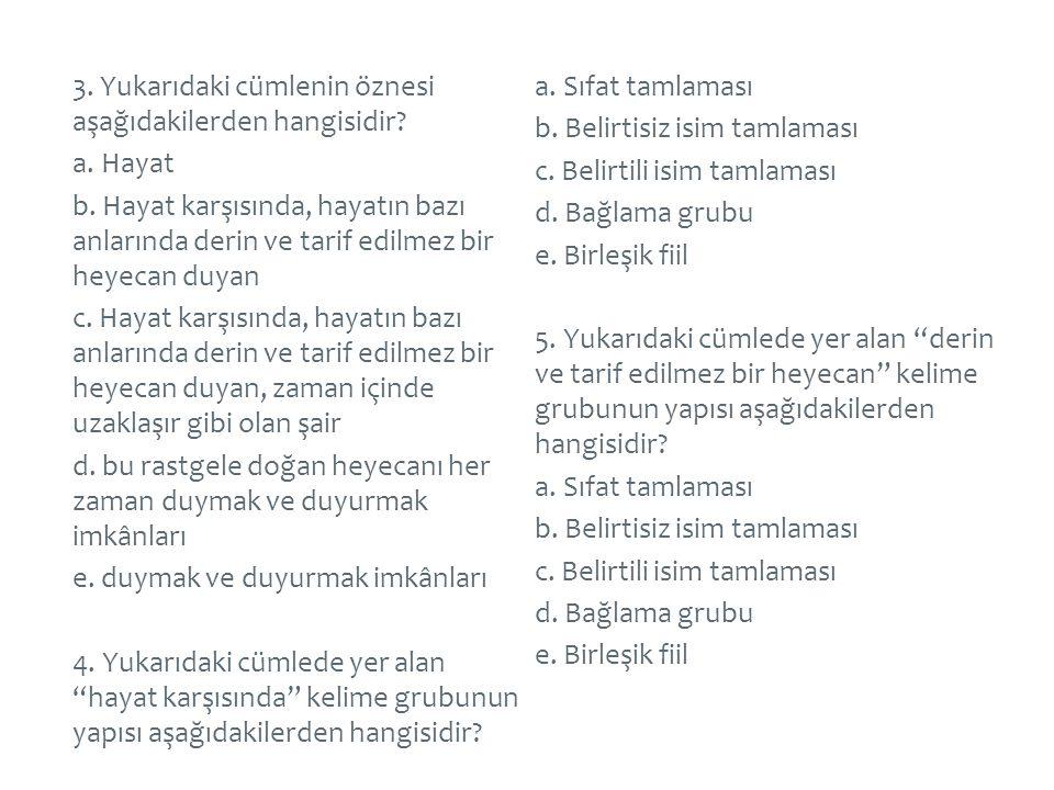3. Yukarıdaki cümlenin öznesi aşağıdakilerden hangisidir. a. Hayat b