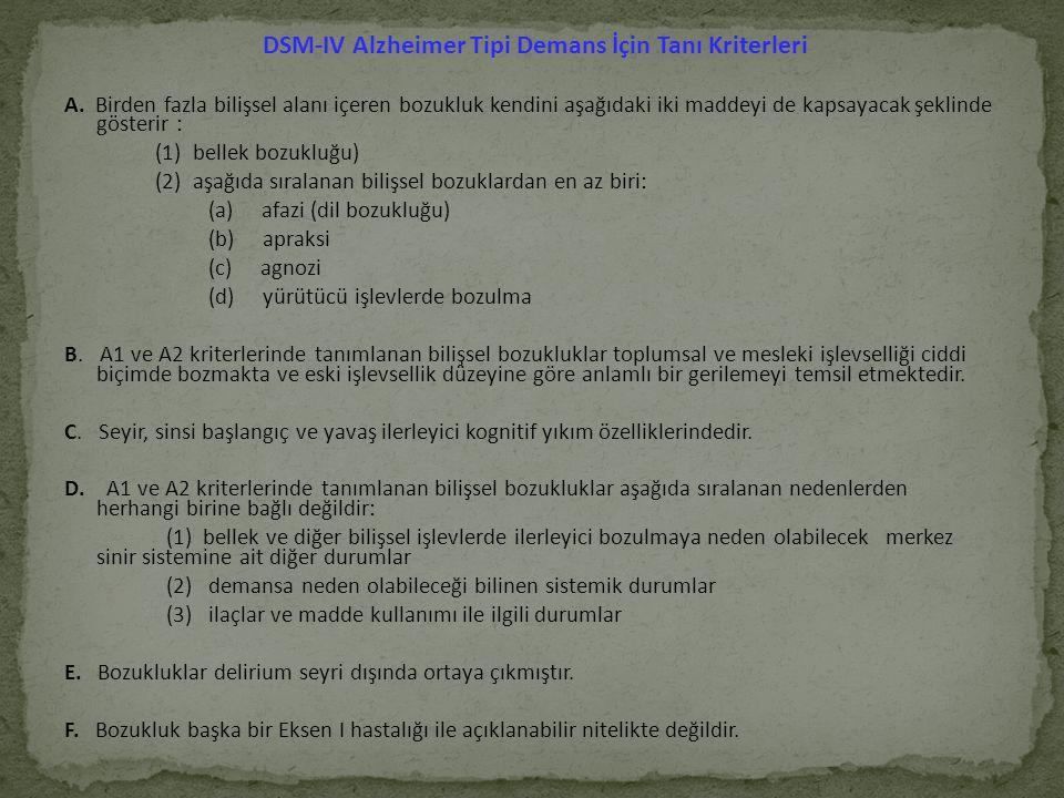 DSM-IV Alzheimer Tipi Demans İçin Tanı Kriterleri