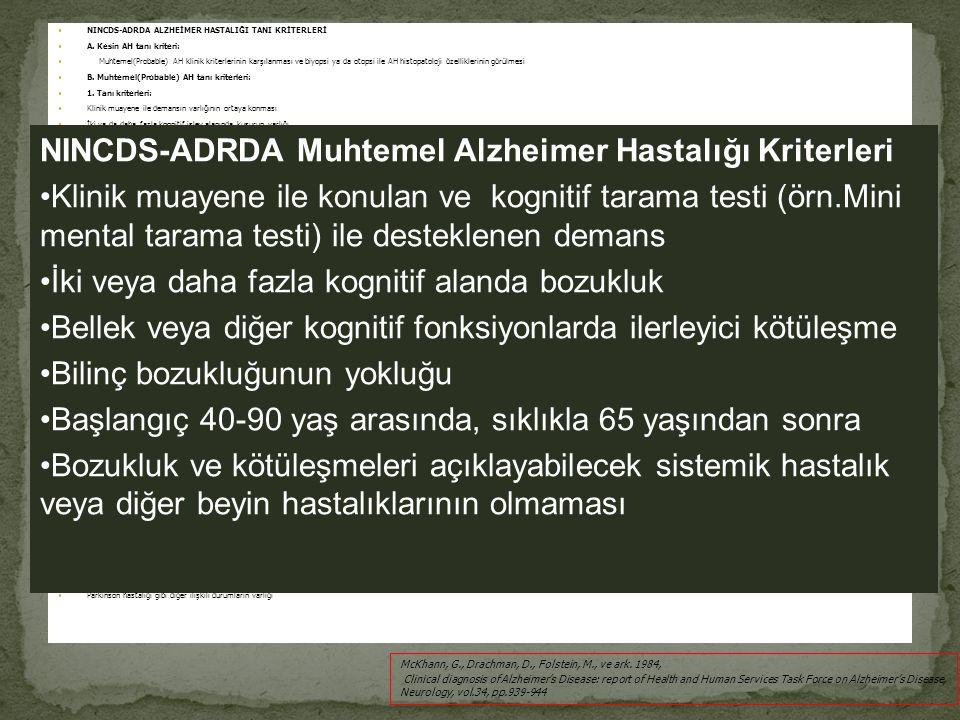 NINCDS-ADRDA Muhtemel Alzheimer Hastalığı Kriterleri