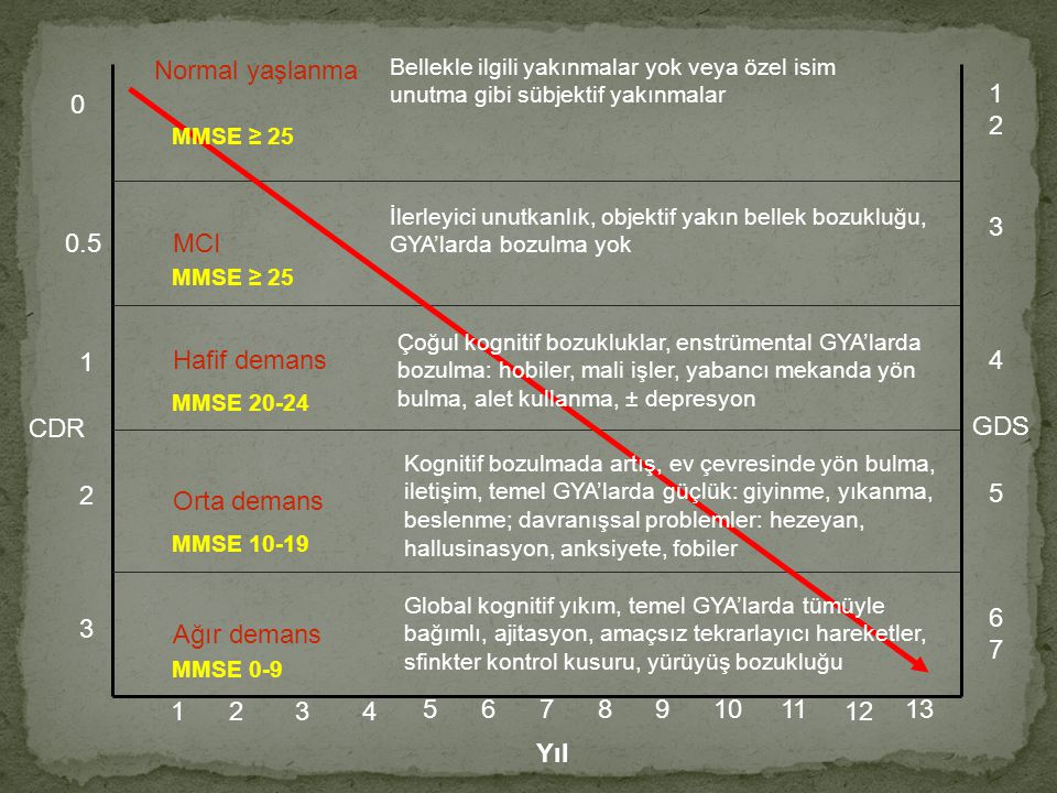 Normal yaşlanma 1 2 MMSE ≥ 25 3 0.5 MCI MMSE ≥ 25 1 Hafif demans 4