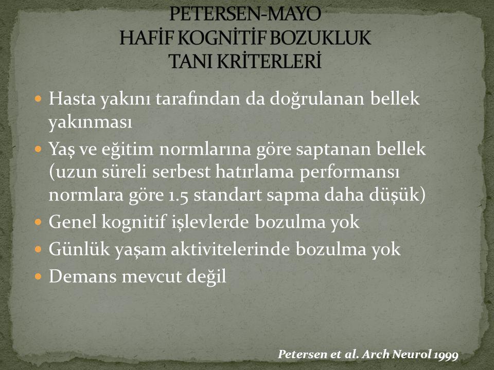 PETERSEN-MAYO HAFİF KOGNİTİF BOZUKLUK TANI KRİTERLERİ