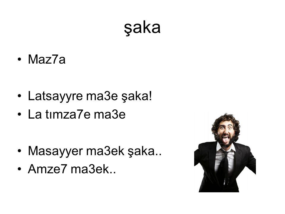 şaka Maz7a Latsayyre ma3e şaka! La tımza7e ma3e Masayyer ma3ek şaka..