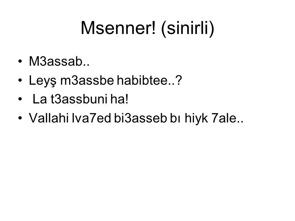 Msenner! (sinirli) M3assab.. Leyş m3assbe habibtee.. La t3assbuni ha!