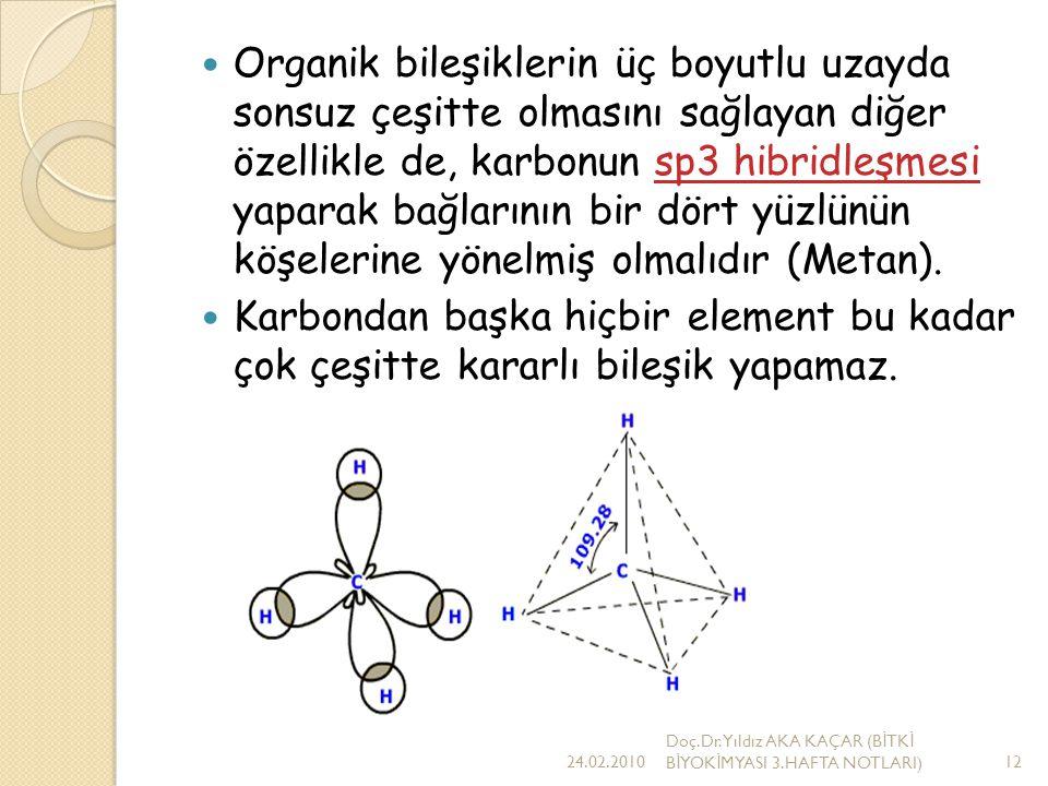 Organik bileşiklerin üç boyutlu uzayda sonsuz çeşitte olmasını sağlayan diğer özellikle de, karbonun sp3 hibridleşmesi yaparak bağlarının bir dört yüzlünün köşelerine yönelmiş olmalıdır (Metan).