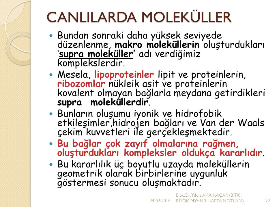 CANLILARDA MOLEKÜLLER
