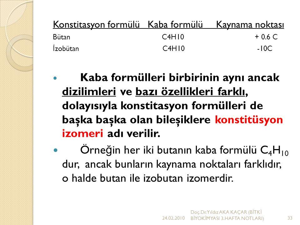 Konstitasyon formülü Kaba formülü Kaynama noktası