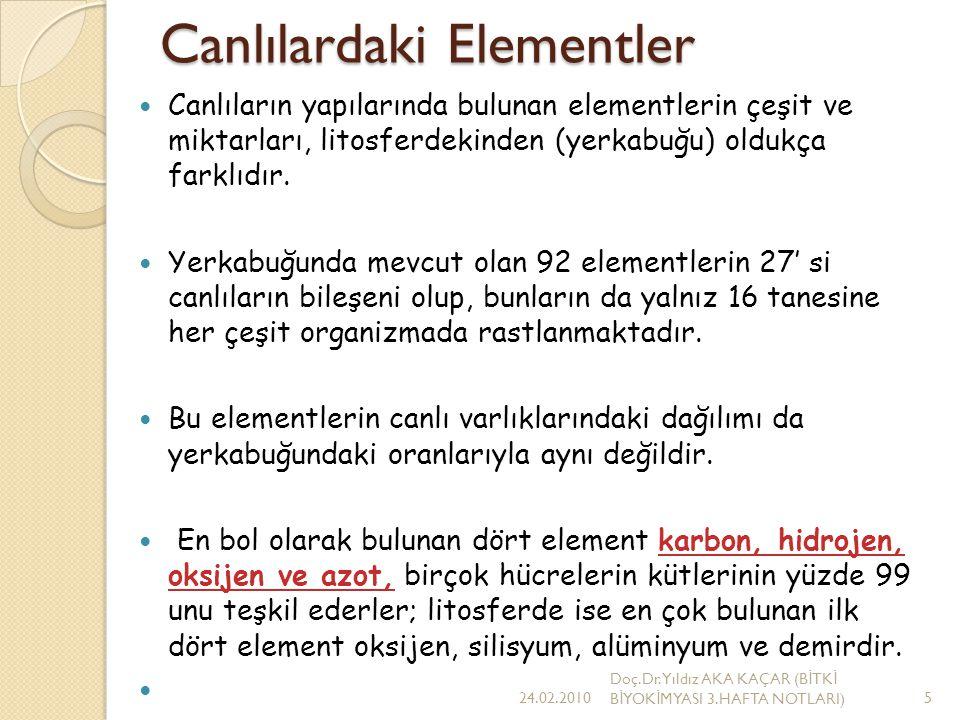 Canlılardaki Elementler