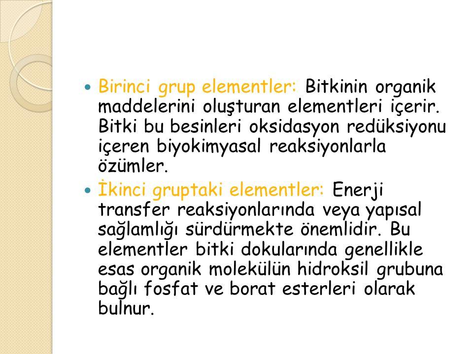 Birinci grup elementler: Bitkinin organik maddelerini oluşturan elementleri içerir. Bitki bu besinleri oksidasyon redüksiyonu içeren biyokimyasal reaksiyonlarla özümler.