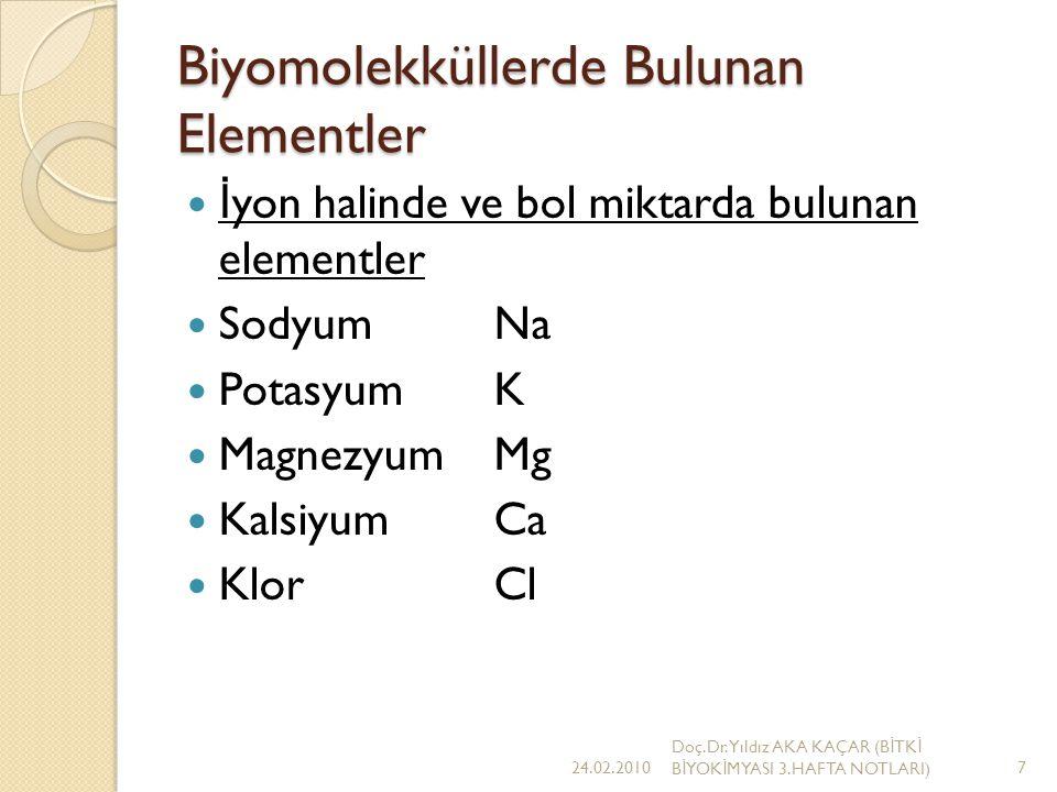 Biyomolekküllerde Bulunan Elementler