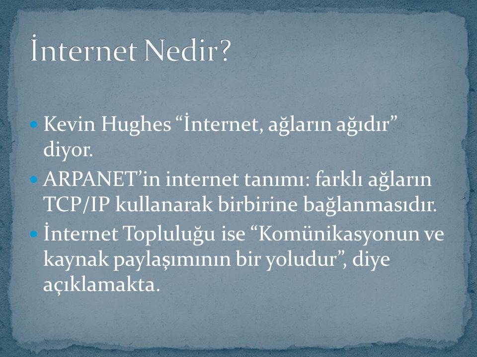 İnternet Nedir Kevin Hughes İnternet, ağların ağıdır diyor.