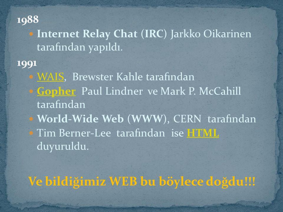 Ve bildiğimiz WEB bu böylece doğdu!!!