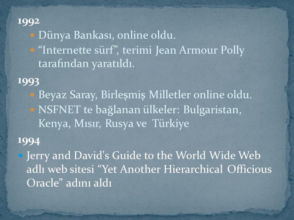 1992 Dünya Bankası, online oldu. Internette sürf , terimi Jean Armour Polly tarafından yaratıldı.