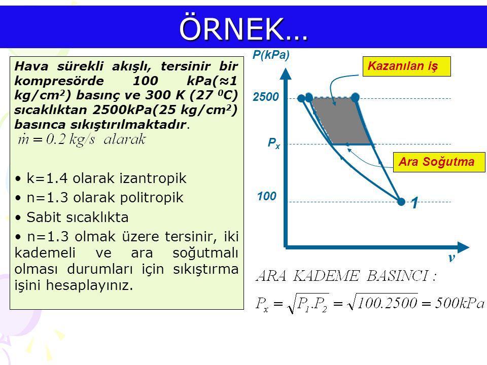 ÖRNEK… 1 v k=1.4 olarak izantropik n=1.3 olarak politropik