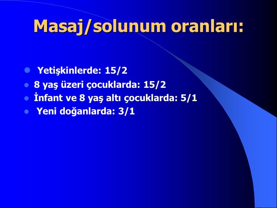Masaj/solunum oranları: